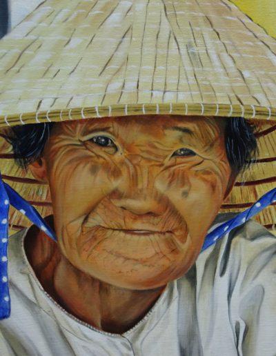 vrouw met hoed 40x50